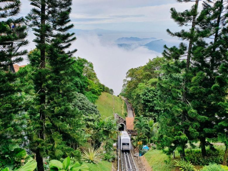 ride up to penang hill on Penang island in Malaysia