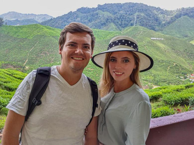 a couple drinking tea at the tea plantations in Cameron highlands in Malaysia