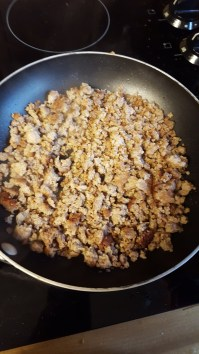 Sausage, cooked, crumbles, rinsed and drained