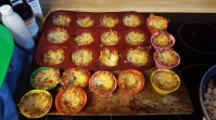 Loaded all the little nests back into the muffin, even the broken ones