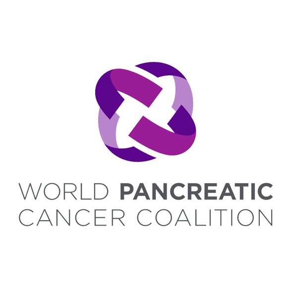 World Pancreatic Cancer Coalition logo with an open squared rounded shape in purples and text in gray