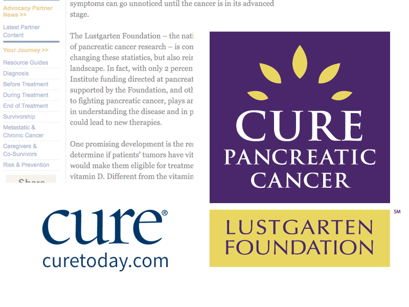 Collage of Cure logo in blue, Lustgarten Foundation logo in purple and yellow, and faded text of the article
