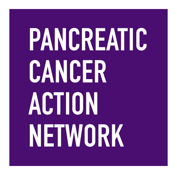Pancreatic Cancer Action Network logo with white letters on purple background