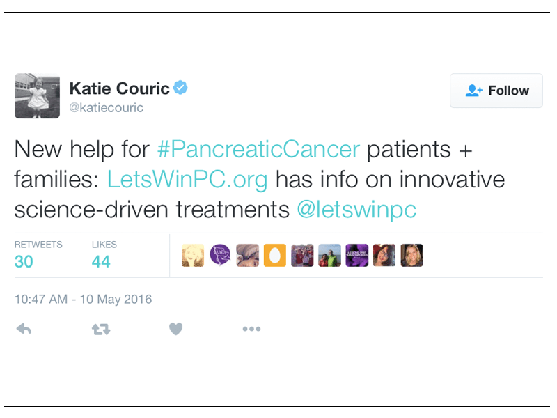 Screen Capture Of A Twitter Post From Katie Couric Featuring A Mention Of Let's Win