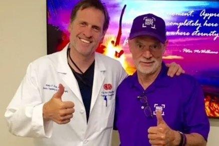 Dr. Nicholas Nissen and pancreatic cancer patient Larry Clark