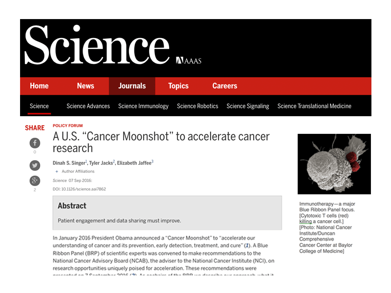 """A U.S. """"Cancer Moonshot"""" to Accelerate Cancer Research"""