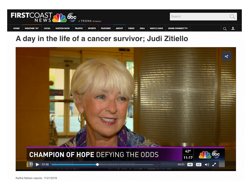 Collage Of Video Featuring Pancreatic Cancer Survivor Judith Zitiello And A Headline About Her Story