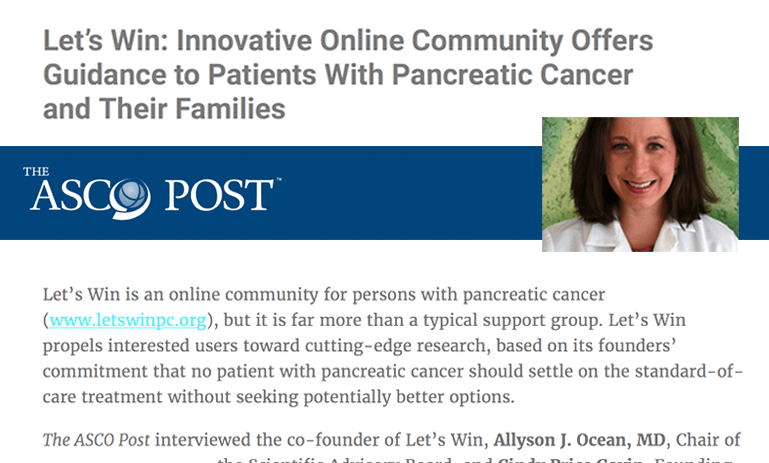 Collage of photo of Dr. Allyson Ocean and ASCO Post logo and text from a story about Let's Win