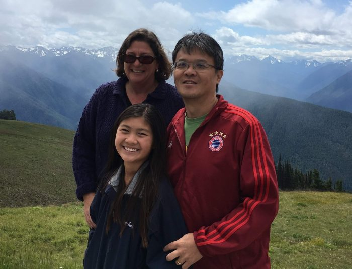 Pancreatic cancer patient Samuel Chi and his family in the mountains