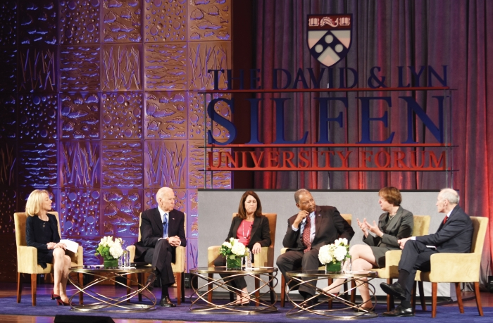 Vice-president Joe Biden seated second from left at a panel discussion at the University of Pennsylvania