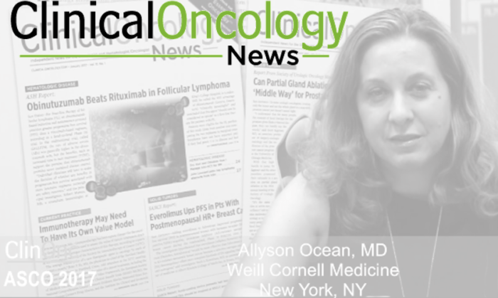 Collage of Clinical Oncology News logo, photo of Dr. Allyson Ocean, and magazines