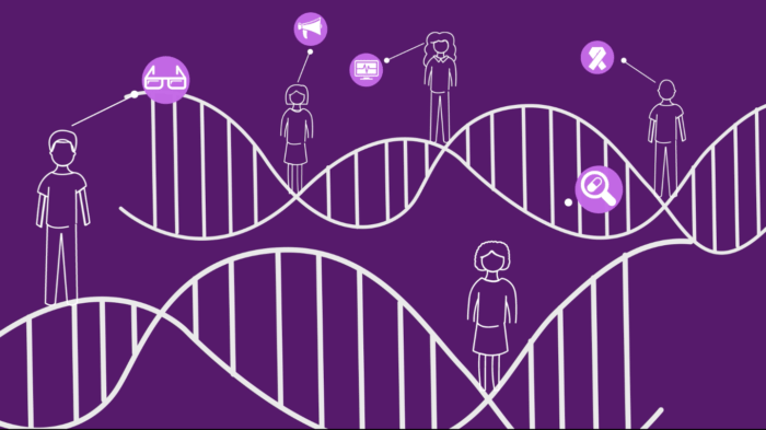 Cartoon drawings of double helix spirals in white on a purple background, with people in the background