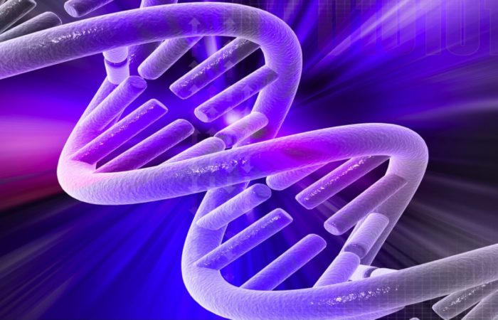 Illustration Of The DNA Double Helix In Shades Of Purple And Blue