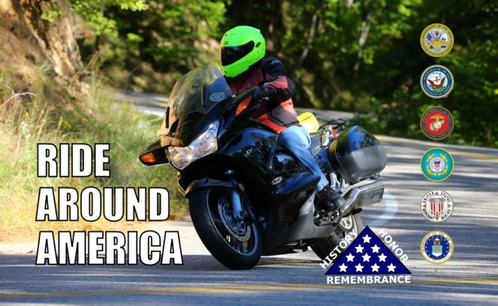 Pancreatic cancer patient Lee Wonnacott on his motorcycle, riding around a curved rural road, with the Ride Around America logo on the left and state seals, and a blue triangle with white stars within, and the words History, Honor, Remembrance around it