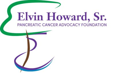 Green purple blue and brown curved lines make the logo the Elvin Howard Sr. Pancreatic Cancer Advocacy Foundation