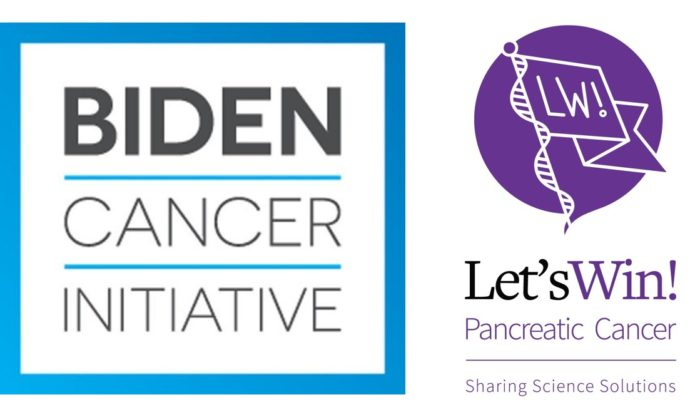 Biden Cancer Initiative logo in blue and black alongside the Let's Win logo in purple and black