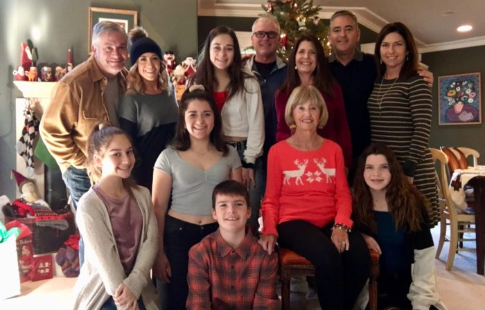 Pancreatic cancer survivor Diane Borrison surrounded by her family