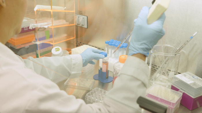 laboratory technician working with samples, wearing blue gloves