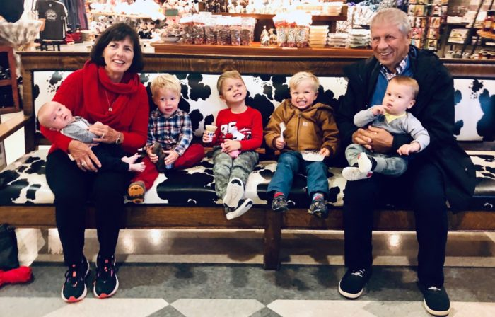 Pancreatic cancer survivor Larry Nicolet, his wife, and grandchildren