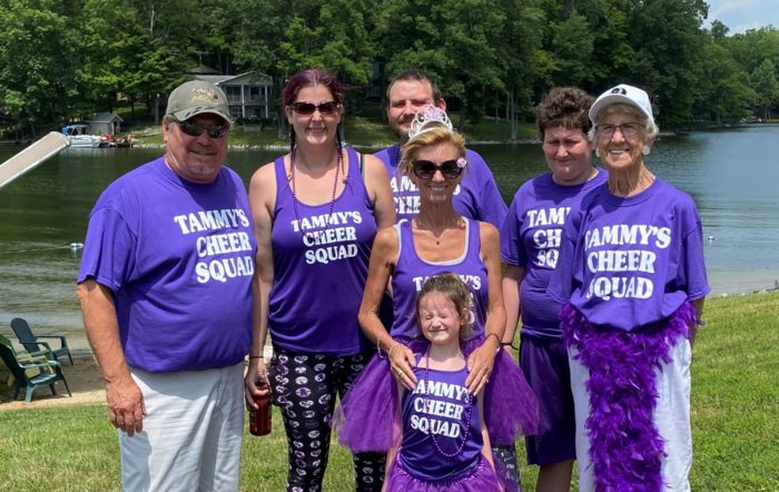Pancreatic cancer patient Tammy Richardson and family at a fundraising walk