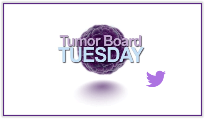 Purple and light blue Tumor Board Tuesday logo and Twitter icon