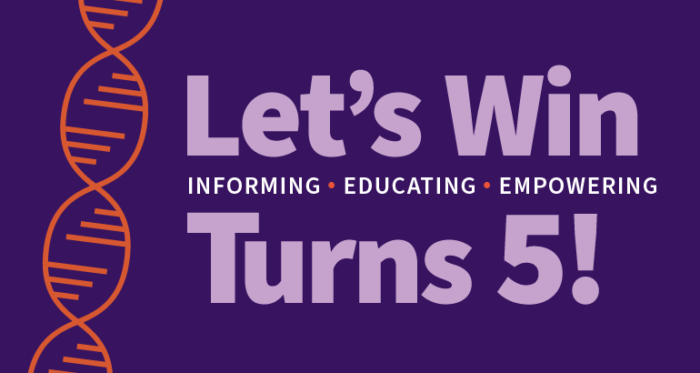 Let's Win anniversary message on purple background with orange DNA strand