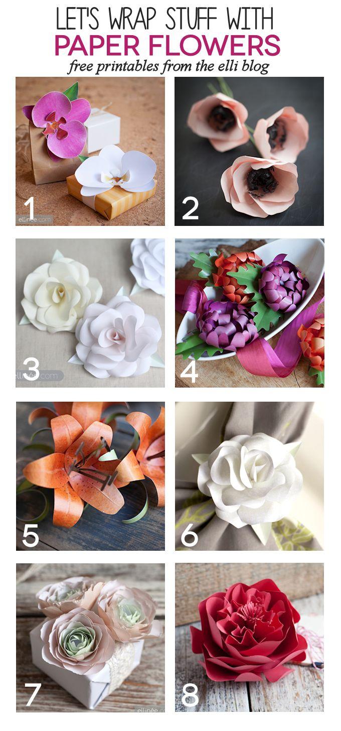 Use Printable DIY Paper flowers as gorgeous DIY bows.