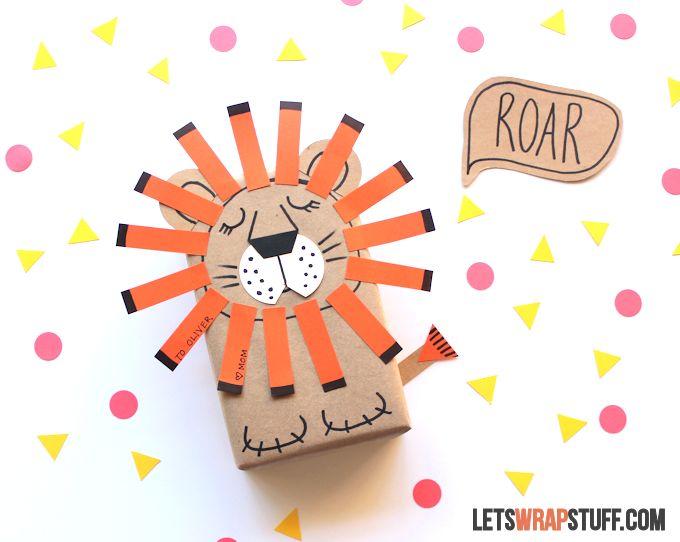 Geometric Sleepy Lion Gift Wrap
