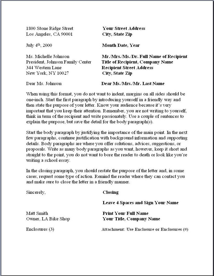 business letter format business letter format