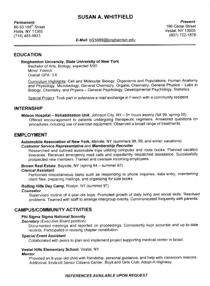 resume format samples for students resume for students in resume