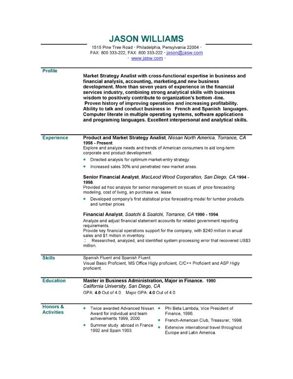 Personal Profile Examples For Resumes  Template