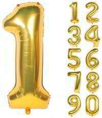 40 Inch Number Gold Helium Foil Balloons
