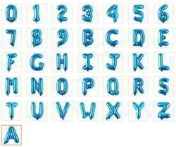 28 Inch blue single letter number balloons