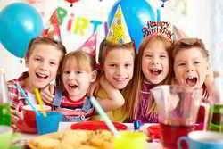 happy children and balloons