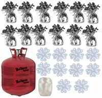 Balloon Time Disposable Helium Tank 14.9 cu.ft - 12 Silver Balloon Weights