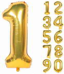 40 Inch Gold Digit Helium Foil Birthday Party Balloons (Gold 1)