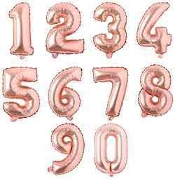 16 Inch Rose Gold Number Balloons
