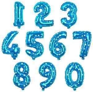 16 Inch Blue Number Balloons