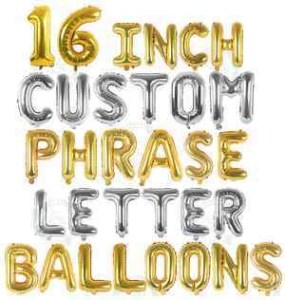 16 Inch Silver and Gold Custom Phrase Balloons