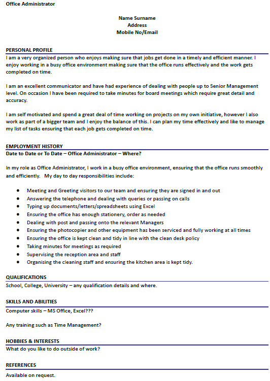 CV Example For Office Administrator