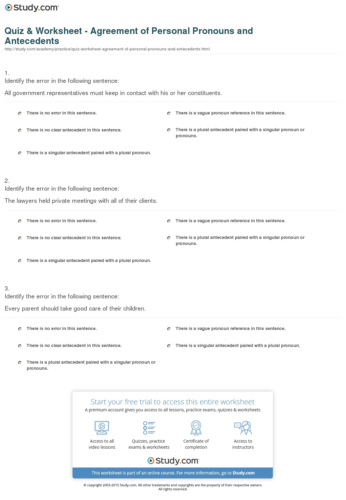Correct Pronoun Antecedent Agreement Quiz Worksheet