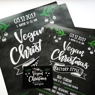Lettering Titelbild Vegan Christmas im Chalk Lettering Style Kreide Lettering Workshop mit Martina Johanna // Veganer Weihnachtsmarkt Bremen
