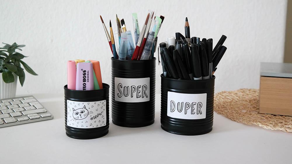 DIY Stiftebecher aus Konservendosen nachher