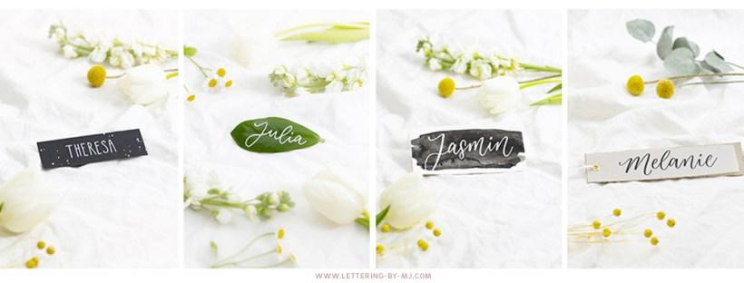 Namensschilder selber machen, Handlettering DIY Ideen und Inspirationen