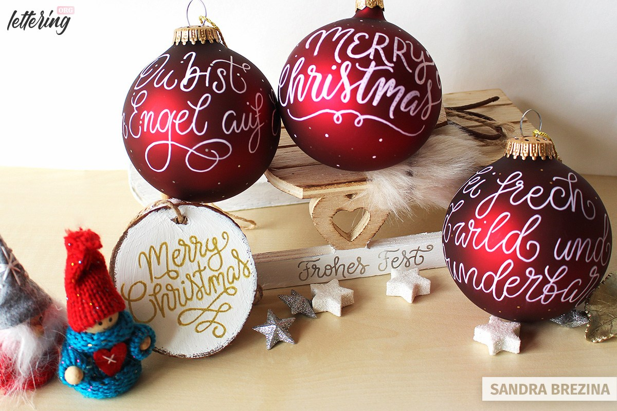 How To Create Gorgeous Hand Lettered Christmas Ornaments