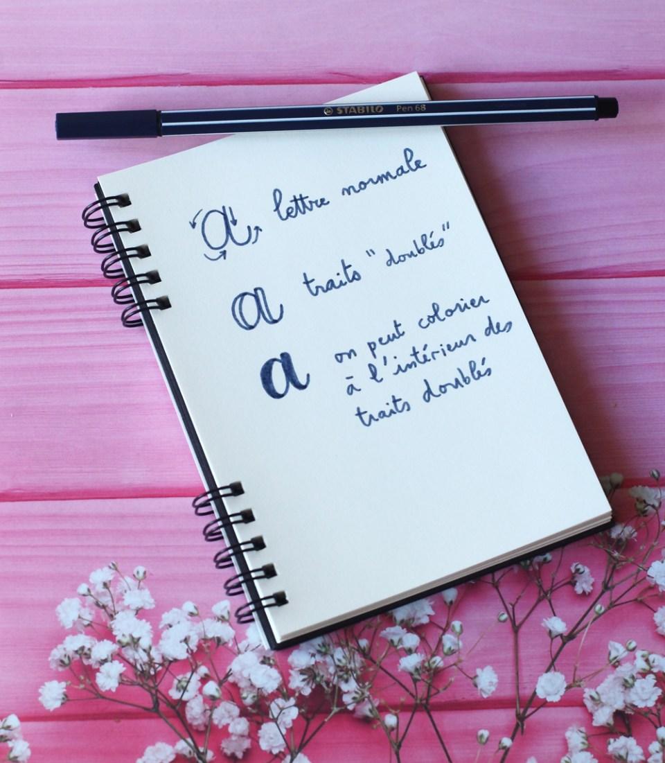 """Principes de la fausse calligraphie (exemple sur la lettre """"a"""""""