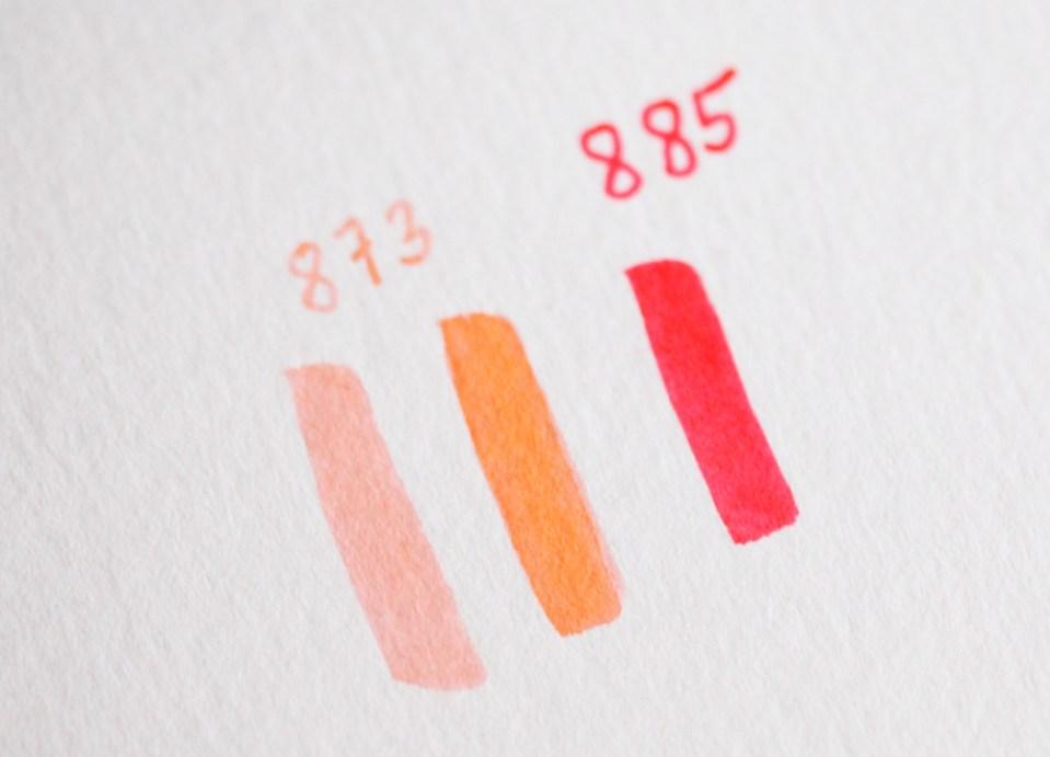 choix de couleurs à dégrader (références Tombow dual brushpen)