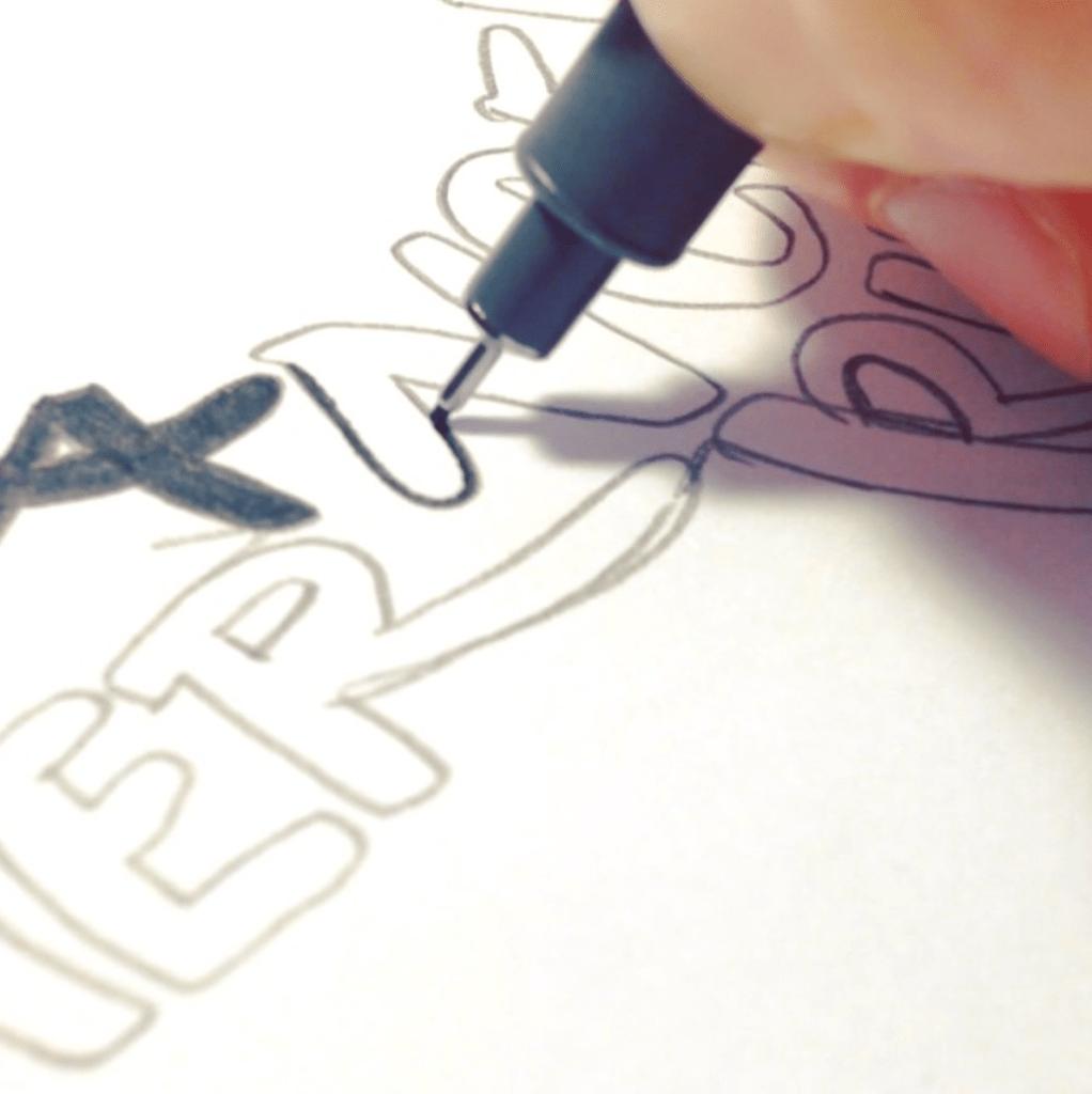 Inking Reindeer Outline Emma Holmes - Lettering Tutorial