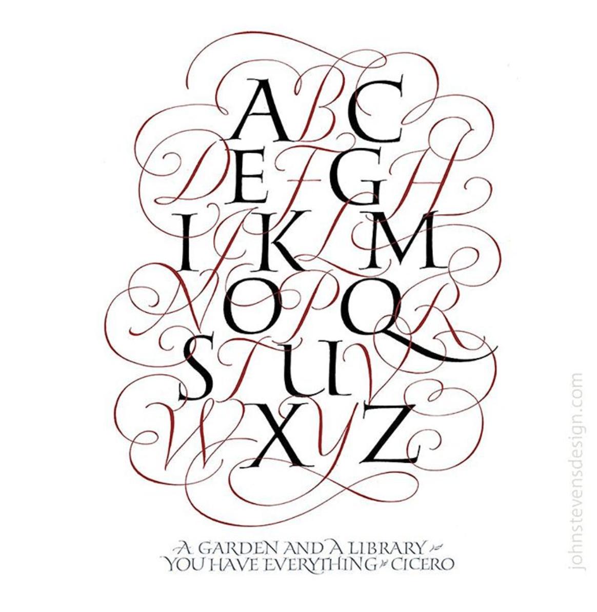 John Stevens Roman and Calligraphy Style Alphabet - Lettering Tutorial
