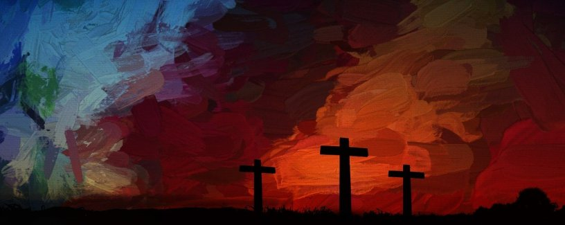 A somewhat abstract painting of the three Easter Crosses. The background is hard brushstrokes of dark reds, purples, and blues. The three crosses are in black.